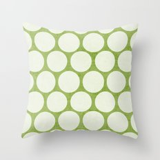 green and white polka dots Throw Pillow