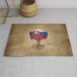 Vintage Tree of Life with Flag of Slovakia Rug