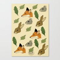 woodland Canvas Prints featuring woodland by Melrose Illustrations