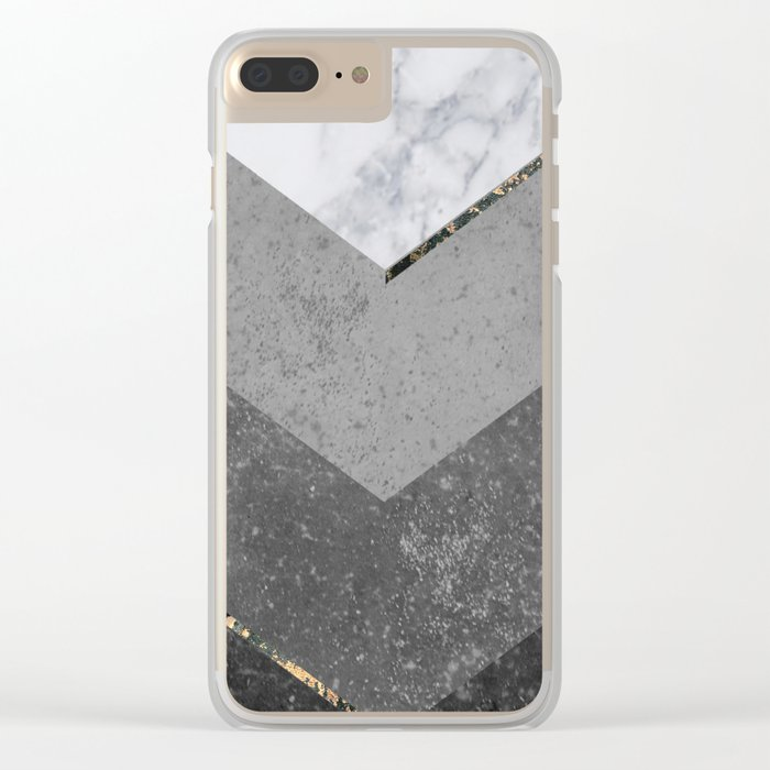 Marble Gray Copper Black Gold Chevron Clear iPhone Case