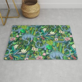 Improbable Botanical with Dinosaurs - dark green Rug