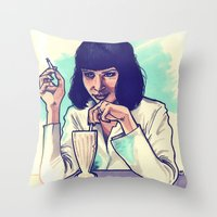 mia wallace Throw Pillows featuring Mia Wallace by ARTBYSKINGS