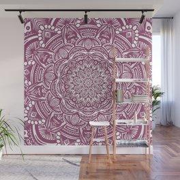Wine Maroon Ethnic Detailed Textured Mandala Wall Mural