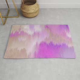 Watercolor Pink and Golds Pixel Abstract Rug