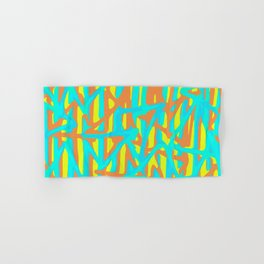 green blue orange yellow geometric line pattern painting abstract background Hand & Bath Towel