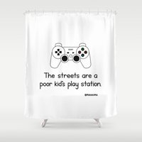 playstation Shower Curtains featuring PlayStation by Mokokoma Mokhonoana