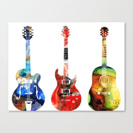 Guitar Threesome - Colorful Guitars By Sharon Cummings Canvas Print