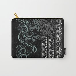 Slate Polynesian Tribal Turtle Grunge Carry-All Pouch