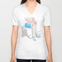 legs V-neck T-shirts featuring legs by ministryofpixel
