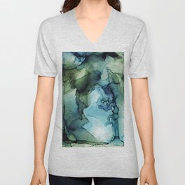 Abstract Ink Painting Deep Purple Green Unisex V-Neck