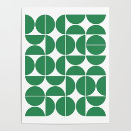 Mid Century Modern Geometric 04 Green Poster