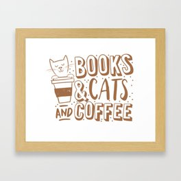 Books, cats and coffee Framed Art Print