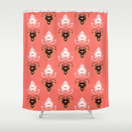 Ornament medallions - Black and white fractals on living coral color Shower Curtain