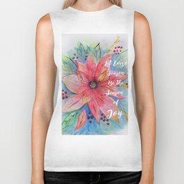 "Pretty watercolor poinsettia ""Let every season be the season of joy"" quote Biker Tank"