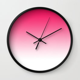 Modern bright simple neon pink white color ombre gradient Wall Clock
