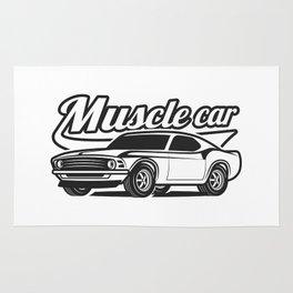 Muscle retro car Rug