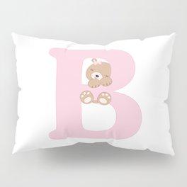 B - pink bear Pillow Sham