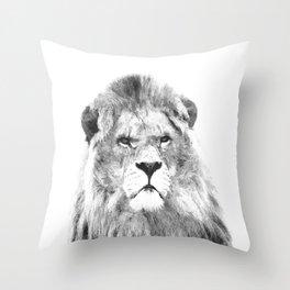 Black and white lion animal portrait Throw Pillow