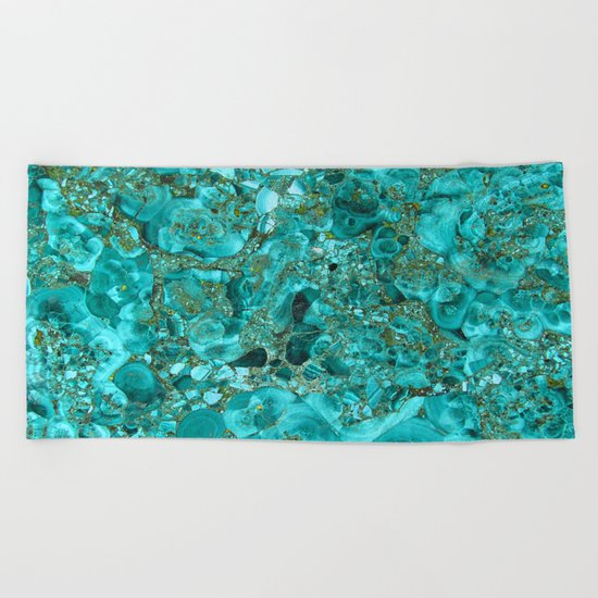 Marble Turquoise Blue Gold Beach Towel