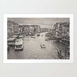 Rain on the Venice Canal Art Print