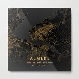 Almere, Netherlands - Gold Metal Print