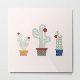 We are 3 cactus! Metal Print