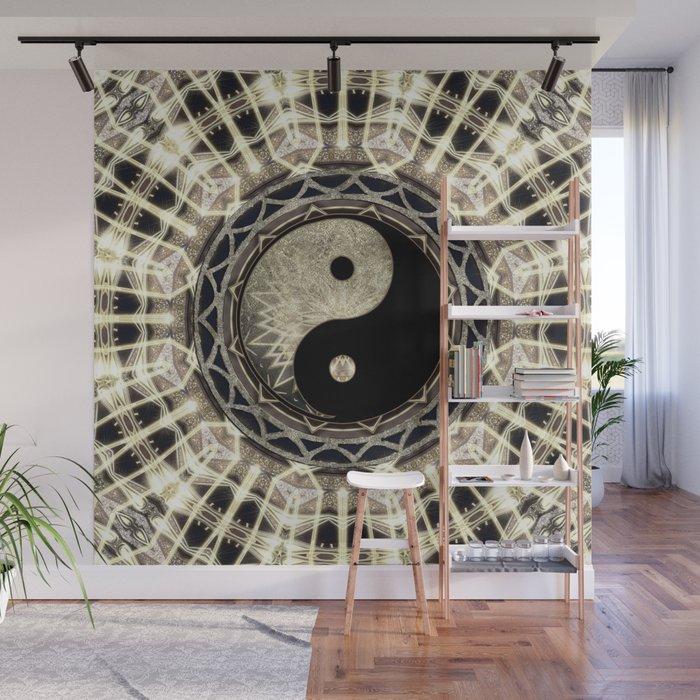 Yin Yang Geometry Mandala V1 Wall Mural