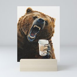 """ Grizzly Mornings "" give that bear some coffee Mini Art Print"