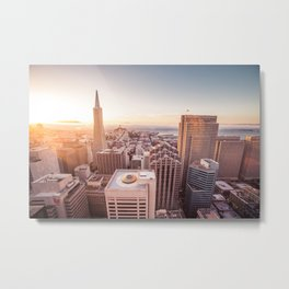 Sunset Over the Skyscrapers in San Francisco Metal Print