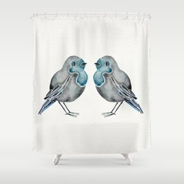 Little Blue Birds Shower Curtain