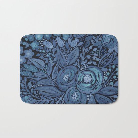 Watercolor .  Black and blue floral pattern . Bath Mat