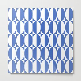 Mid Century Modern Geometric Half Oval Pattern 244 Blue Metal Print