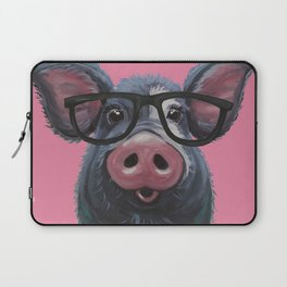 Pig with glasses art, Colorful pig art Laptop Sleeve