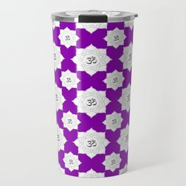 Lotus Flower Om Pattern on Purple Background Travel Mug