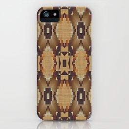 Khaki Tan Orange Dark Brown Native American Indian Mosaic Pattern iPhone Case