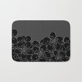 Cherry Blossom Grid Black Bath Mat