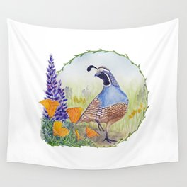 California Quail with Poppies and Lupine Wall Tapestry