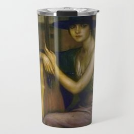Classical Masterpiece 'La Guitarrista' by Julio Romero de Torres Travel Mug