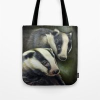 badger Tote Bags featuring Badger by Claudia Hahn