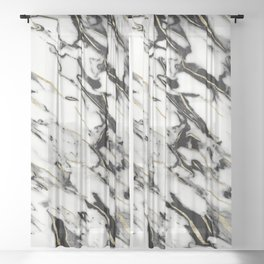 Classic White Marble Gold Foil Glam #1 #marble #decor #art #society6 Sheer Curtain