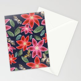 Lilies and Butterflies Stationery Cards