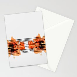 Orange Splash & Black Stripes Stationery Cards