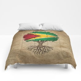 Vintage Tree of Life with Flag of Guyana Comforters
