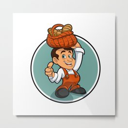 Happy little baker cartoon character Metal Print