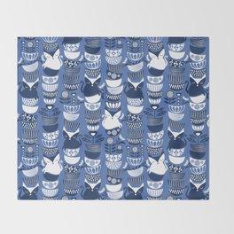 Swedish folk cats I // Indigo blue background Throw Blanket