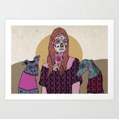 Sugar skull mermad and dogs Art Print