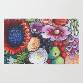 Red Sunflower Party Rug