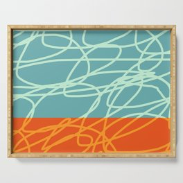 Chaos Lines On Horizon Minimal Abstract Art Diadem Serving Tray