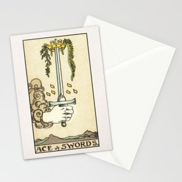 ACE OF SWORDS / WHITE Stationery Cards