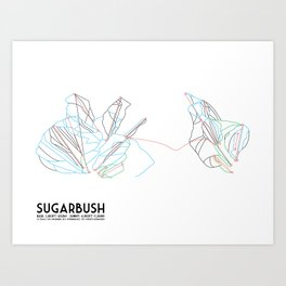 Sugarbush, VT - Minimalist Trail Art Art Print